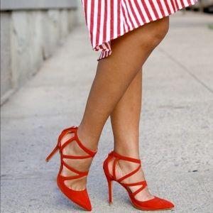 $50 Brand New Zara Red Strappy Heels Sz 37